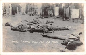 China Public Execution Thieves Real Photo Macabre Postcard AA6095