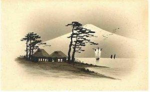 pc3025 postcard Japan Hand Painted MOBSC Oil Mountain