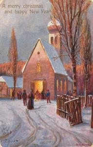 A Kircher~Christmas~New Year~Folks Gather at Church~Twilight~1906 GA Novelty Art