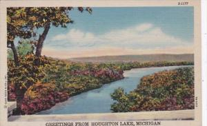 Michigan Greetings From Houghton Lake 1950 Curteich