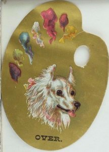 Die-Cut Painter's Palette H.A Prentice Watches Jewelry White Fluffy Dog P43