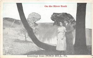 Pond Hill Pennsylvania~Couple Under Tree On the River Bank~1920s Blue Sky Pc