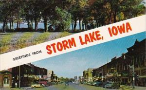Iowa Greetings From Storm Lake Showing Main Street & Chautaqua Point