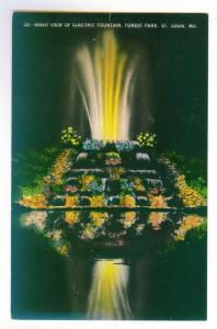 Night View of Electric Fountain, St. Louis, Missouri unused linen PPC