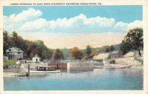 Songo River Maine Lower Entrance To Lock Antique Postcard K56600