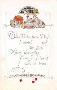 Valentine~ART DECO~Blond Girl in Bouffant Dress~Hat Box~Gold Leaf~White Embossed