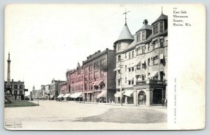 Racine Wisconsin~East Side Monument Square~Downtown Shopping~c1910 Postcard