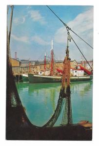 Gloucester Waterfront Cape Ann MA Portugese Seine Fishing Fleet Postcard