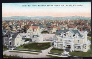 Washington ~ Bird's-Eye View Residence Section Capitol Hill SEATTLE Divided Back