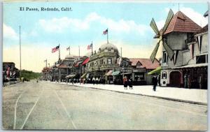 Redondo Beach, California Postcard El Paseo Street Scene Amusement Park c1910s