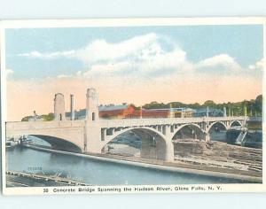 Unused W-Border BRIDGE SCENE Glens Falls - Lake George New York NY H8273