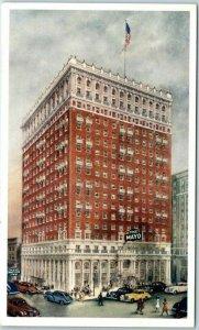 Tulsa, Oklahoma Postcard THE MAYO HOTEL Street View c1940s Unused