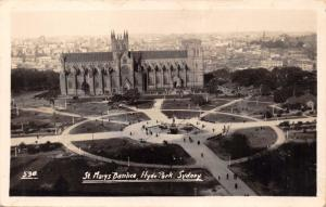 SYDNEY AUSTRALIA~HYDE PARK~ST MARY'S BASILICA~ELEVATED VIEW REAL PHOTO POSTCARD