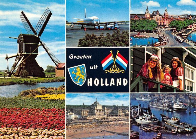 Groeten Uit Holland.Netherlands Groeten Uit Holland Souvenir Children Flowers Tulips