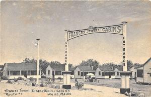 Wells ME Frances Jewell Cabins on US 1 Postcard