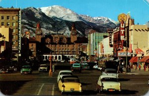 Colorado Colorado Springs Pikes Peak Avenue With Antlers Hotel and Pikes Peak...