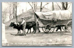 MARIETTA OH OX TEAM & HISTORICAL MOUND VINTAGE REAL PHOTO POSTCARD RPPC