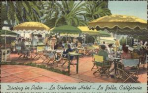 La Jolla CA La Valencia Hotel Patio - Nice Linen Postcard