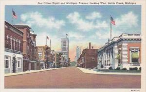 Michigan Battle Creek Post Office and Michigan Avenue Looking West Curteich