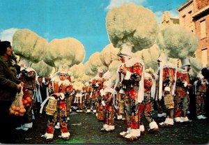 Belgium Binche Carnaval Locals In Carnival Costumes