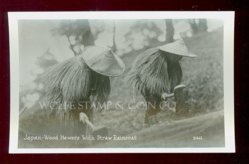 Japan Real Photo Postcard Wood-Hewers with Straw Raincoats RPPC   B3701