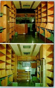 Vintage BOOK-MOBILE Postcard Library Bus Interior / Empty Shelves c1950s Unused