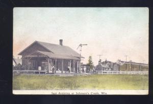 JOHNSON'S CREEK WISCONSIN RAILROAD DEPOT TRAIN STATION VINTAGE POSTCARD 1914