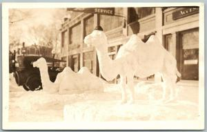 SNOW CAMELS ANTIQUE REAL PHOTO POSTCARD RPPC BANGOR MAINE