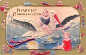 Post Card Old Vintage Antique Heartiest Congratulations Unused