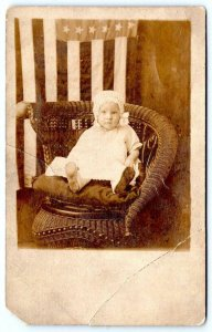 1920's RPPC AMERICAN FLAG BABY WICKER CHAIR INDIANAPOLIS STUDIO CREASED CORNER