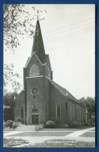 St John's Evangelical Reformed Church Ackley Iowa ia real photo postcard RPPC
