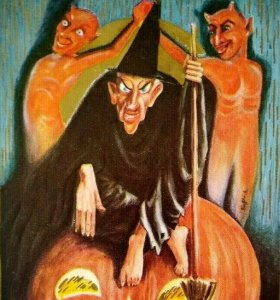 Halloween Postcard Satan Devils Evil Witch Black Cat Embossed 1912 Vintage Goth