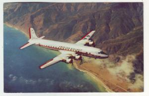 PC46 JLs old postcard american airlines dc7 prop flagship