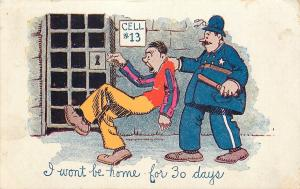 Comic Pun~I Won't Be Home for 30 Days~Jailer Puts Fellow in Cell #13~1907 PC