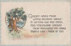 Friendship Grows From Oak Acorn Tree To Farmer Antique Songcard Poetry Postcard