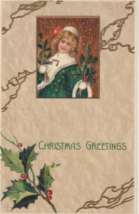 CHRISTMAS ; Girl with holly , 1907
