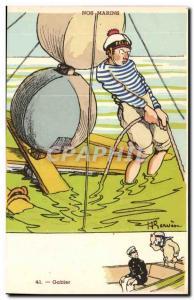 Our Marins- Gabler-boat-Postcard Old Illustrator Gervese