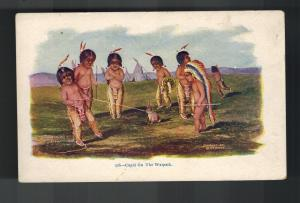 1903 Mint Embossed Postcard Native American Little Indians Cupid on the Warpath