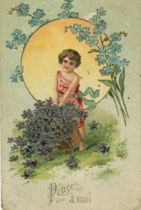 Romance Postcard Think Of Me Violets Emboss French Greeting