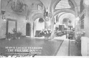 Florence Italy inside Nuovo Locale Tearoom Fireside Inn antique pc Z19626