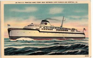 1941 SS PRINCESS ANNE FERRY Cape Charles Norfolk Virginia VA Postcard