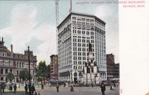 DETROIT, Michigan, 1900-1910s; Majestic Building And Soldiers Monument