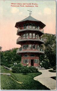 1915 Baltimore, Maryland Postcard Observatory and Earth Works, PATTERSON PARK