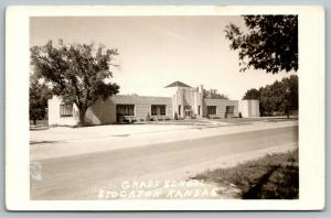 Stockton Kansas~Grade School~Art Deco Architecture~1951 Real Photo Postcard~RPPC
