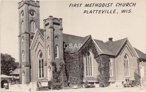 C73/ Platteville Wisconsin Wi Postcard Photo RPPC c50s First Methodist Church