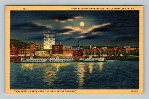 Wheeling, Moonlight Skyline, Riverboats, Ohio River Linen West Virginia Postcard