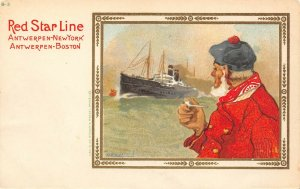LP36   Ship Red Star Line Cassiers Vintage Postcard Smoking Pipe