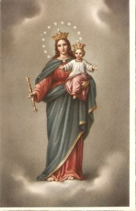 Virgin with the Child Nice vintage Spanish religious postcard