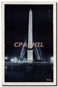 Paris Old Postcard Concorde Square Illumination of & # 39obelisque