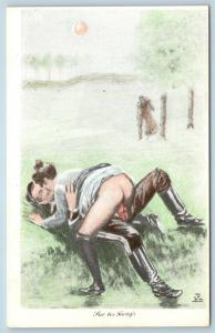 Postcard French Risque Man Woman Nude Cartoon Fur Les Fortif's Q16